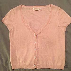 Michael Kors  Baby Pink Short-Sleeved Cardigan